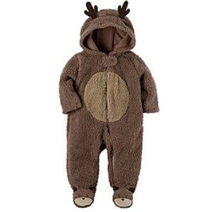 Carter's Newborn Reindeer Sherpa Coverall Jumpsuit